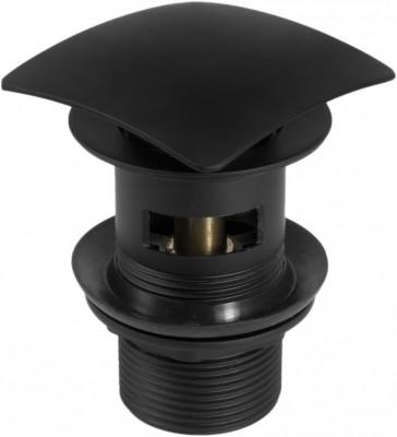 poza Ventil negru pentru lavoar cu clik-clak cu preaplin cu dop patrat